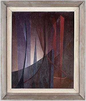 Vånda, Abstrakt Komposition I Lila Och Röda Toner by Nils NIXON