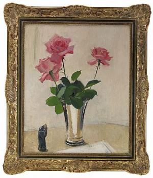Rosa Rosor I Silverpokal by Olle HJORTZBERG