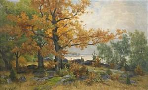 Landskap Med Sjö Och Träd I Höstfärger by Jakob SILVÉN