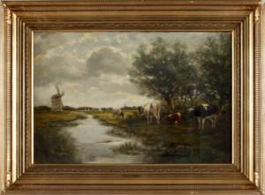 Landskap Med Kor Vid Vattendrag Och Väderkvarn by Willem Van Der VLIET