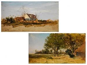 Paar Landschaftsgemälde by Giuseppe De NITTIS