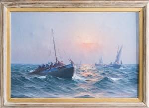 Fiskebåtar I Gryningsljus by Johan Ossian 'J. Ossian' ANDERSSON