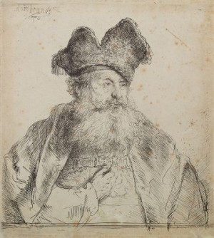 Old Man With Divided Fur Cap by Rembrandt Harmenszoon Van RIJN
