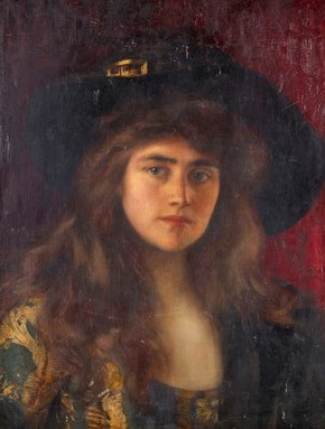 Porträtt Av Flicka I Svart Hatt by Albert LYNCH