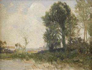 Vårlandskap Med Träd Vid Vatten by Gustaf RYDBERG