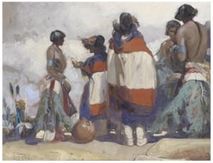 Indian And Niman Kachina Dancer by Carl Oscar BORG