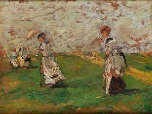 Damen In Langen Kleidern Mit Sonnenschirm In Wiesenlandschaft by Eugène Louis BOUDIN