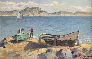Strandparti Med Fiskare Och Uppdragna Båtar - Motiv Från Marstrand by Johan ERICSON