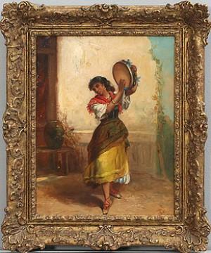 Tamburinspelande Ung Kvinna by Thomas Kent PELHAM