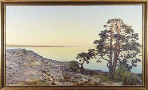 Skärgårdslandskap Med Solbelysta Tallar by Gottfrid KALLSTENIUS