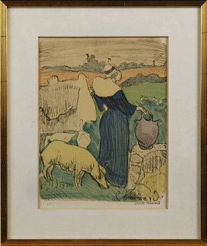 Kvinna Och Gris by Emile Henri BERNARD