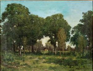 Lummigt Landskap Med Skymtande Hus by Charles Hippolyte DESMARQUAIS