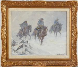 Ridande Karoliner I Snöyra by Alexander 'Alex' LANGLET