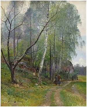 Landsväg Med Promenerande Kvinnor by Johan 'John' KINDBORG