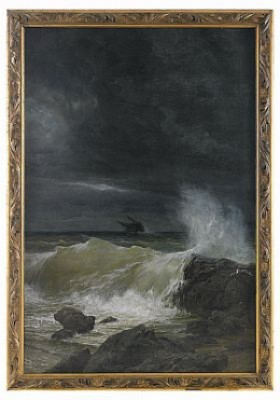 Ship In Difficulty Off The Coast In A Storm by Prince Arsenii Ivanovich MESCHERSKY