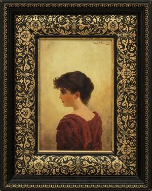 Porträtt Av Kvinna I Röd Klänning by Oscar OHLSON
