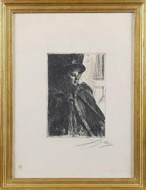 Olga Bratt, 1892, 1 état by Anders ZORN