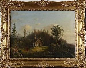 Landskap Med Hus Och Figur by Carl Peter HALLBERG