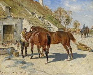 Utfodring - Hästar Vid Stallet, Arsenius Och W. V Gegerfelt by Georg ARSENIUS