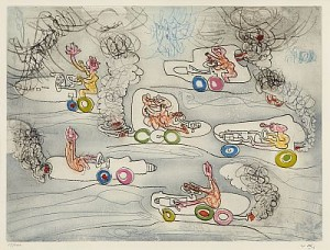 Les Oh! Tomomobiles (3 Plates) by Roberto MATTA