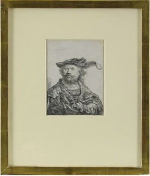 Self Portrait In A Velvet Cap With Plume by Rembrandt Harmenszoon Van RIJN