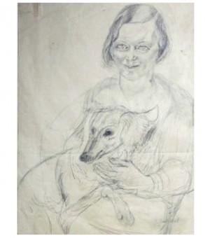 Vera Derkert Med Hund I Knäet by Siri DERKERT