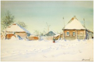 Winter In The Village by Mikhail Abramovich BALUNIN