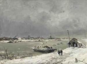 A Ferry Crossing Near Wijk Bij Duurstede In Winter by Louis APOL