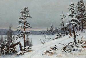 Skier With A Dog In Winter Landscape by Ellen FAVORIN