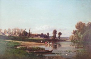 River Scene With Laundresses by Charles Francois DAUBIGNY