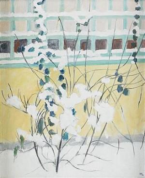 Trädgård I Snö - Motiv Från Konstnärens Balkong Till Ateljén Vid Bastugatan 21, Stockholm by Hilding LINNQVIST