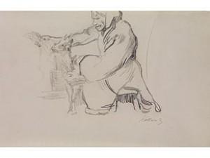 Auf Einem Schemel Sitzende Alte Bäuerin Mit Ihrer Ziege, Ca by Käthe KOLLWITZ
