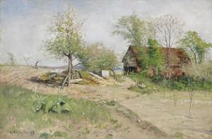 En Vårbild - Trädgård I Upland by Olof HERMELIN