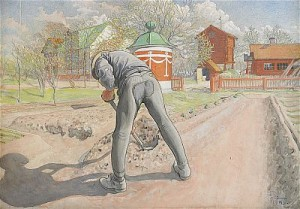 Trädgårds-erik - Erik Kvarnberg Vid Brunnen by Carl LARSSON