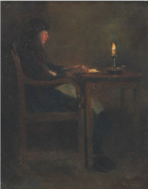 Figure Seated At Table by Hubert Von HERKOMER