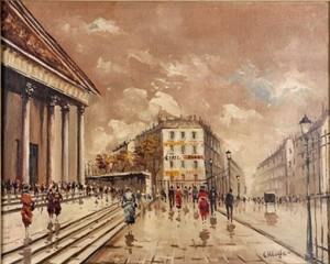 Paris Street Scene With Figures, Oil On Canvas, Signed Lower Right, Canvas: 16