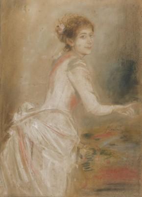 Porträt Einer Jungen Dame Im Weißen Kleid by Franz Seraph Von LENBACH