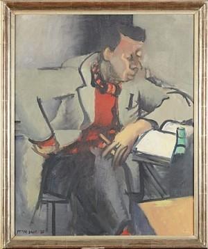 Porträtt Av En Man Som Läser Ivar Lo-johanssons Novell Molieres Sista Dag Ii by Peter DAHL