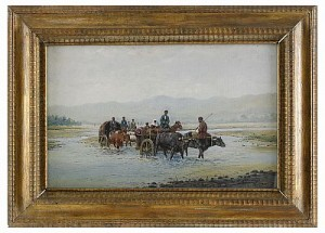 Caravan Crossing A River In Central Asia by Richard Karlovich ZOMMER