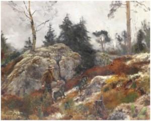 Landskap Med Jägare Och Hundar by Lindorm LILJEFORS