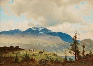 Stugor I Hage Vid åresjön; åreskutan I Bakgrunden by Per Daniel HOLM