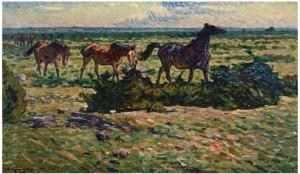 Hästar I Gåmarsch by Nils KREUGER