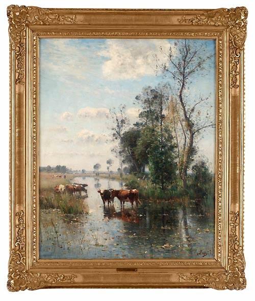 Kor I Vattendränkt Landskap by Louis Aime JAPY