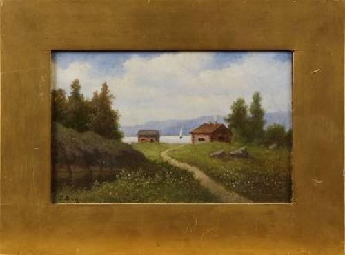 Landskap Med Hus Och Båta by Teodor BILLING