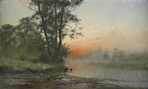Landskap I Aftonrodnad by Arvid Mauritz LINDSTRÖM