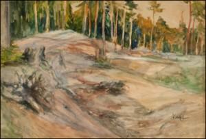 Metsänrinne Iltavalossa by Albert EDELFELT