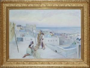 Kvinnor Hängandes Tvätt Med Vy över Algers Hamn, Algeriet by Knut Gustaf Waldemar TODE