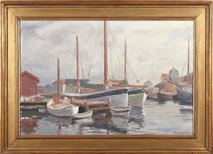 Fiskebåtar, Motiv Från Gullholmen by Ellis WALLIN