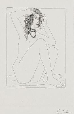 Femme Nue Se Couronnant De Fleurs - Suite Vollard Pl. 2 by Pablo PICASSO