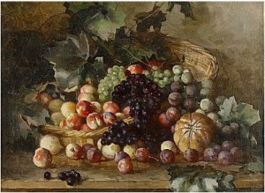 Still Life With A Basket Of Fruits And Vine Leaves by Julij Julevic The Younger KLEVER